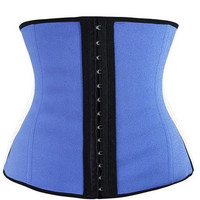 Camellias Women's 3 Hooks Sports Latex Waist Cincher Body Shapewear (Blue)