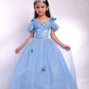 Fashion blue princess girls cinderella costumes for birthday party dresses for teenage girls