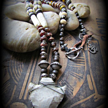ARROWHEAD Stone Silver TRIBAL Necklace~Artisan Beaded Boho Gemstone Hippie Necklace~Mdogstudios~