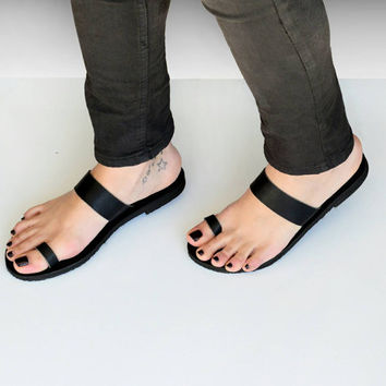 HELLENIC RING, Sandals, Black leather sandals, Toe ring sandals, Greek sandals