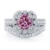 Sterling Silver Round Pink Cubic Zirconia CZ Halo Ring Set 2.7 ct.tw3 Review(s) | Write A ReviewSKU# VR095-03