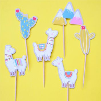96pcs alpaca candy bar cupcake toppers pick baby shower kids birthday party supplies fruit picks Event Supply