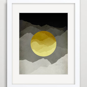 Mountains Abstract Landscape, Mid Century Modern Art, Minimalist Poster, Black and Yellow