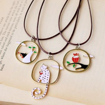 Simple Style Lovely Drops Of Oil Wolf Cat Owl Pendant Necklace For Men Women Kids Fashion Jewelry Cute Animal Cat Bird Necklace