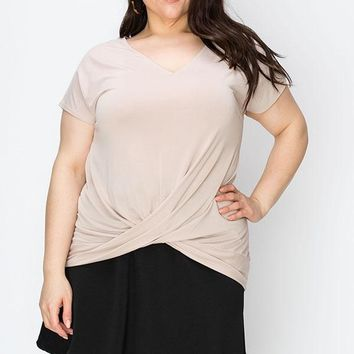 Women's Plus V-Neck Tee with Twist Front Detail