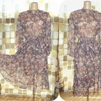 Vintage 70s Sheer Chiffon Neutral Floral Pleated Blousey Disco Dress Tie Waist BOHO M/L/XL