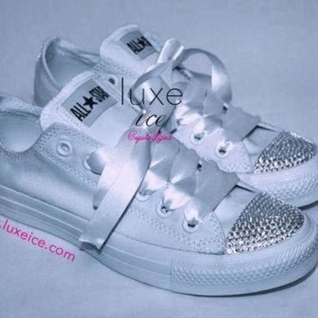 CREYON converse all star chucks adult sizes all white w crystal clear  swarovski elements 781bc2460