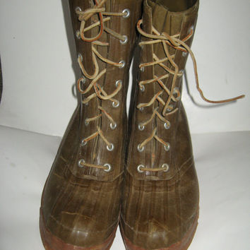 4f80ae2591bb True Vintage CONVERSE BOOTS Tall brown Rubber Hunting Fishing Ra