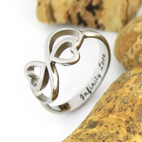 "Lovers Ring Infinity Ring Double Heart Promise Ring Couples Ring ""Infinity love"""