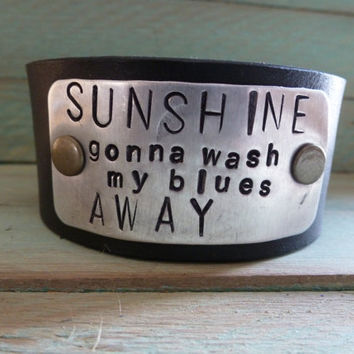 Country Phrase Stamped on a Leather Cuff by BellaNotteDesigns