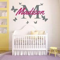 Wall Decals Personalized Name Butterflies Vinyl Sticker Decal Custom Name Girls Boys Initial Monogram Children Baby Decor Nursery Kids Room Bedroom Art NS196
