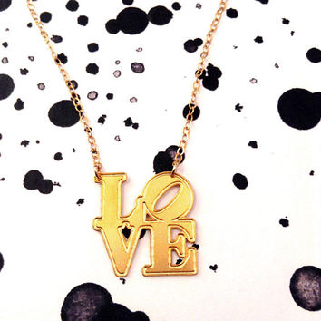 Love Necklace gift For Her Love Word Necklace Script Statement Jewelry Relationship Sterling Silver Couple Necklace 14K Gold Filled