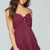 Down The 101 Lace Up Romper - Plum