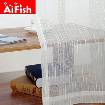 White All-match Linen Stripe Windows Screens Sheer Panels Curtains For Living Room Modern Bedroom Balcony Custom wp039-30