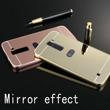 Luxury Mirror Hybrid case for LG K10 5.3inch Hard Metal Aluminum Protective back cover for LG K10 phone cases shell