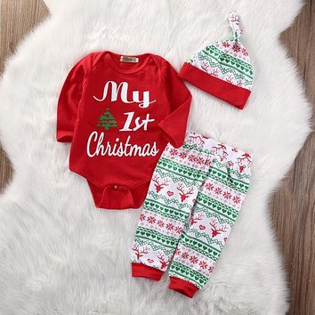 My First Christmas 3PCS Cute Baby Boys Girls Xmas Red Romper Tops Long Sleeve Pants Legging Hat Outfit Clothes Sets Hot Sale