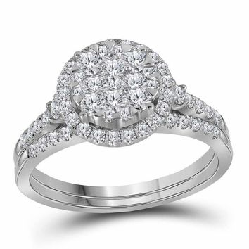 14kt White Gold Women's Round Diamond Cluster Halo Bridal Wedding Engagement Ring Band Set 1.00 Cttw - FREE Shipping (US/CAN)
