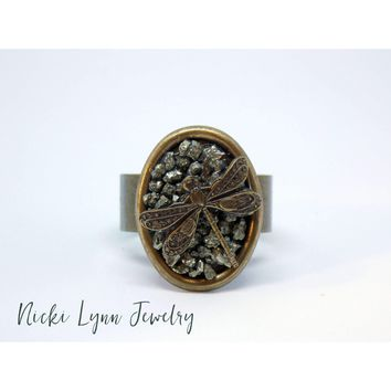 Dragonfly Raw Crushed Pyrite Brass Ring