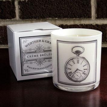 CREME BRULEE Candle with Box, 9oz Tumbler, White Lantern Series, Antique Pocket Watch Label, Victorian Soy Blend Scented Candle