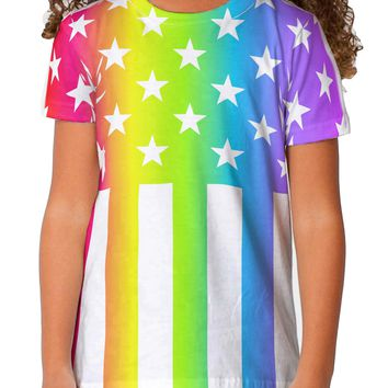 American Pride - Rainbow Stars and Stripes Toddler T-Shirt Single Side All Over Print