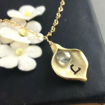 March Birthstone, Aquamarine Necklace, Birthstone Jewelry, Calla Lily Necklace, Birthday Gift, Birthstone, Initial, Personalized Gift, Gold