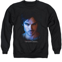 VAMPIRE DIARIES/DAMON - ADULT CREWNECK SWEATSHIRT - BLACK -