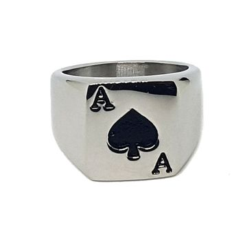 (mrin-504-h5-1) Stainless Steel Ace of Spades Ring for Men.
