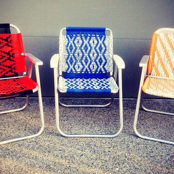 3 Vintage Hand Macrame Lawn/Patio Chairs