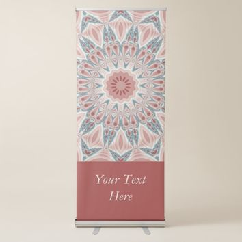 Striking Modern Kaleidoscope Mandala Fractal Text Retractable Banner