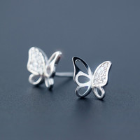 Sweet butterfly 925 Sterling Silver Earrings,  a perfect gift
