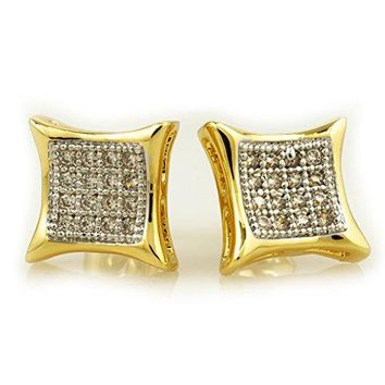 18k Gold Silver Black Canary Micropave Square