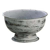 """Whitewashed Grey Metal Floral Container - 4.75"""" Tall x 8.25"""" Wide"""