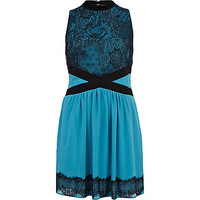 River Island Womens Teal lace panel high neck dress