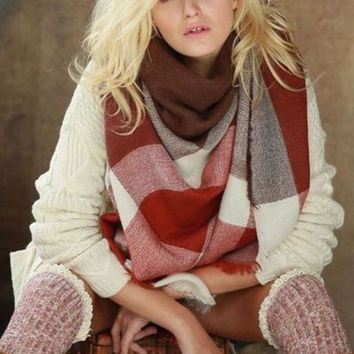 Color block marsala mix plaid blanket scarf