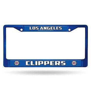 Los Angeles Clippers NBA Licensed Blue Painted Chrome Metal License Plate Frame