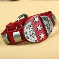 Rock Punk Style Red Leather with Star Rivet Women Leather Cuff Bracelet, Men Bangle Cuff  X10-R