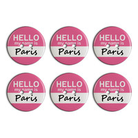 Paris Hello My Name Is Plastic Resin Button Set of 6