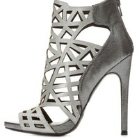 Metallic Cut-Out Peep Toe Booties by Charlotte Russe