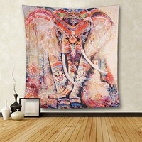 CHICVITA Elephant Print Wall Hanging Tapestry Bohemian Room Decor Bedding Rug