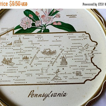 ON SALE Collectible Pennsylvania Round Tray Showing State Flower (Mountain Laurel) and Place Names , Vintage Penn State Tray Gold Metal / Ti