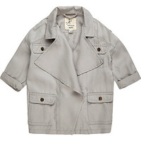 Mini girls grey trench jacket