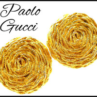 GUCCI Gold Earrings, Braided Gold Rope, Large Gold Rose, Large Clip Ons, Designer Paolo Gucci, Graduation Gift, Mothers Day Gift For Her