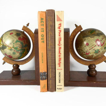 Globe Bookends Set Bookend Set World Earth Globe Mid Century