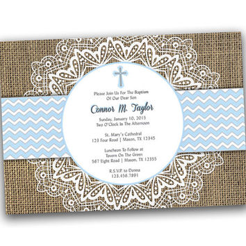 Lace and Burlap Baby Blue Baptism Invitation - Burlap Christening Invitations - Chevron Mat - Lace Accent - Rustic - Country - Fast Baby Boy