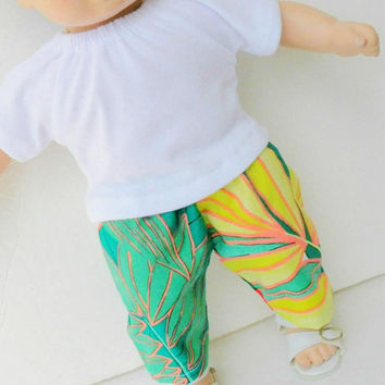 "bitty baby clothes, doll girl or 15"" twin white green yellow tropical t shirt shorts handmade by adorabledolldesigns"