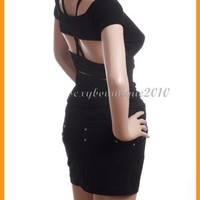 Beautiful Women Sexy Backless Special Strap Top T shirt Black Sexy Style Size S