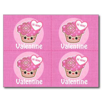 Valentines Day Kawaii Cupcakes Cards x 4 Postcard