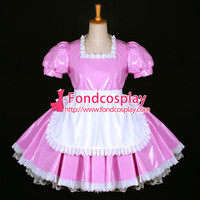 Free Shipping Lovely Sexy Sissy Maid Dress Lockable Uniform Pink Pvc Dress Cosplay Costume Custom-made [G771] - $121.46 : Fond Cosplay