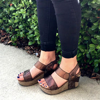 Metallic Brown Platform Wedge - Brown