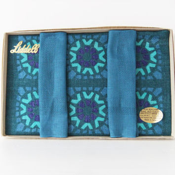 Retro Table Mats and Napkins. 1960s / 1970s Tableware. Dinner for Two set. Never used. Teal, Green, Purple. Vintage Table Linen. Salad Days.